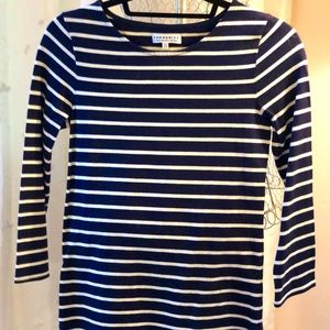 Aritzia Community Stripped Blue and White Top